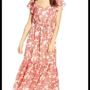 ALL IN FAVOR Red Floral Tie Waist Maxi Dress